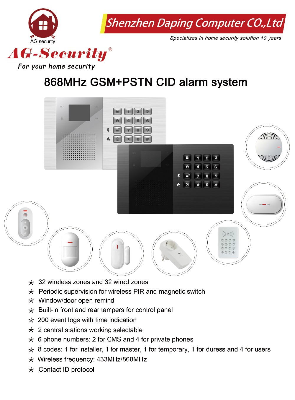 fire wifi pstn alarm system panel wireless gsm 868mhz for home