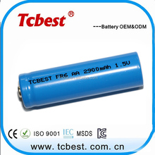 OEM for 2900mah fr6 aa 1.5v li-ion rechargeable battery