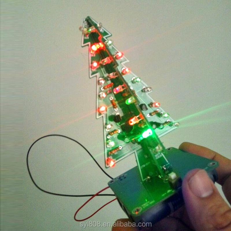 7 Color 3D Christmas Tree LED Flash DIY Kit Three Dimensional Colorful RGB  LED Circuit