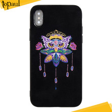 2018 New product national fashion style design embroidery phone case leather phone case