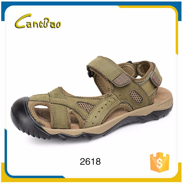 Hot sales fashion soft cozy genuine leader sandals for men