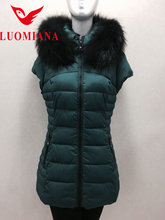 Top Quality Green Duck Feather Down Vest With Fur Collar for Women Casual Winter Waistcoat Outerwear With Removable Hood