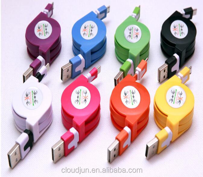Factory supply logo custom colorful one side pull retractable driver download usb data cable for iphone 5