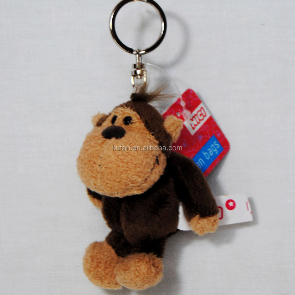 promotional logo printing cheap price lovelyt custom stuffed plush monkey keychain