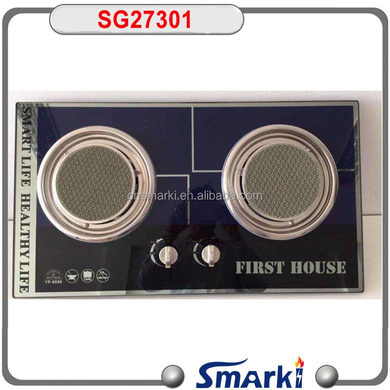 2017 hot model infrared gas hob! Asian 2 burner temper glass Gas Hob ceramic infrared gas burner SG27301