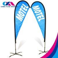 double-sided activity walk advertisement display beach feather flag with pole