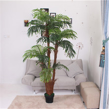 Hot sale factory price indoor decoration evergreen artificial mini 4 branches palmae bark palm tree