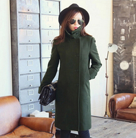 D16045A 2015 style ladies green spring long coat