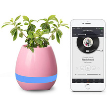 Factory selling smart bluetooth speaker flower pot with Led light table lamp