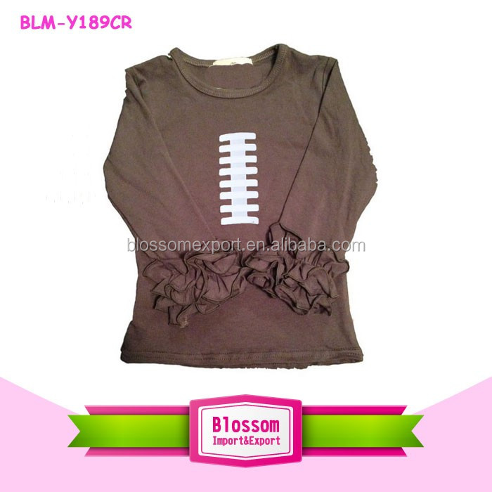 2017 kids football design 3/4 sleeves ruffle raglan t shirt icing rufflestoddler baseball tee