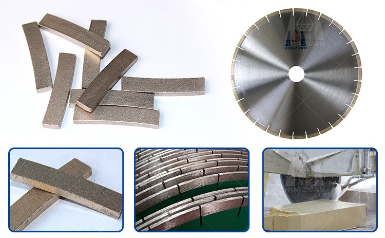 Long lifetime diamond disc blade segments for granite cutting and marble grinding