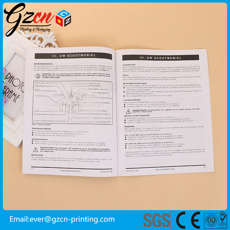 customzied one black color wood free paper catalog Instruction Manual printing product guide