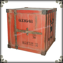 Retro wooden vintage container shaped antique red decoration trunk