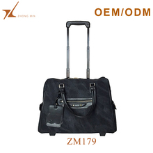 Luxury designer 20 inch men's tote leather laptop trolley bag rolling laptop bag