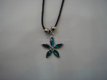Flower cut paua shell pendant Leather Surfer Necklace Choker with Paua Shell Flower Beach Jewelry Vacation