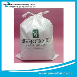 One time use disposable degradable hotel plastic PE drawtape laundry bag