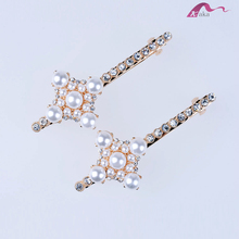 Fashion Elegant Unique Designs Gold Metal Crystal Decorative Hair Clips Pearl Flower Barrettes For Girl Bridal Hairpins Ornament