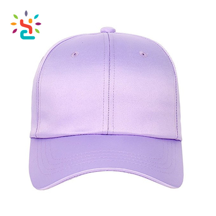 Blank 6 Panel Satin Unstructured Snapback Caps Custom Embroidery Fluorescent Violet Satin Dad Hats