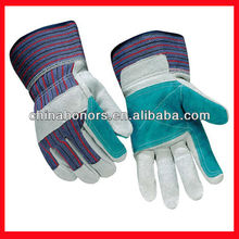 cow split leather work glove/double palm leather work glove