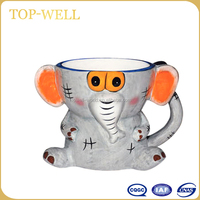 Smart elephant shaped ceramic animal mug with handle made in china