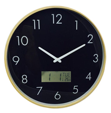 decorative round shape wood wall clock for elderly