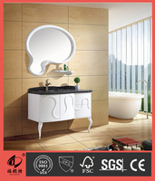 Washbasin PVC bathroom cabinet with marble top 8015