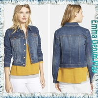 Classical Style Ladies Button Up Cropped Jean Jackets for Women Blue Washing Denim Tops