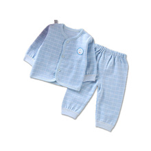 Spring summer and autumn plaid long-sleeved cotton kid underwear two sets