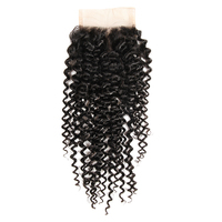 New Arrival 7a Mongolian Human Hair Kinky Curly 3 Part Lace Closure