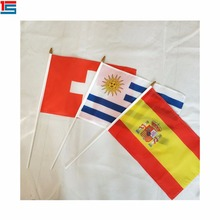 all countries custom printed 60cm pole shipped by express sea or air polyester hand waving flag