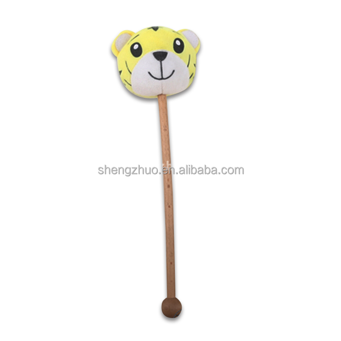 European soft tiger head animal toys wood massage stick muscle roller