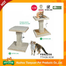 Reversible Use Mat Both Summer and Winter Use Bamboo Chips with Plush Edge Cat Scratcher Board