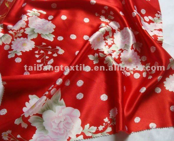 printed satin fabric 100%polyester lining fabric for gift box/decroation/women's pajama
