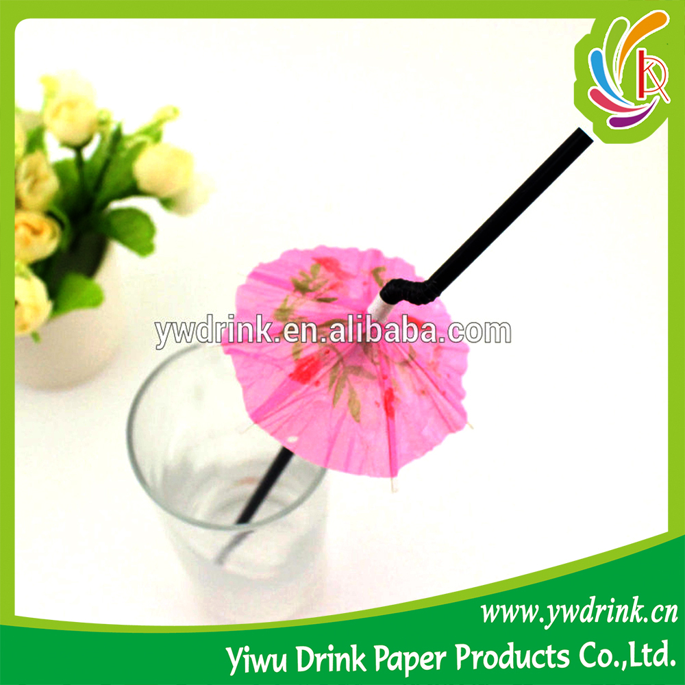 Long Plastic Cocktail Umbrella Straw Pary Decoration