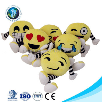 Various cute cheap plush emoji emoticon pillow doll custom fashion yellow stuffed plush soft emoji doll