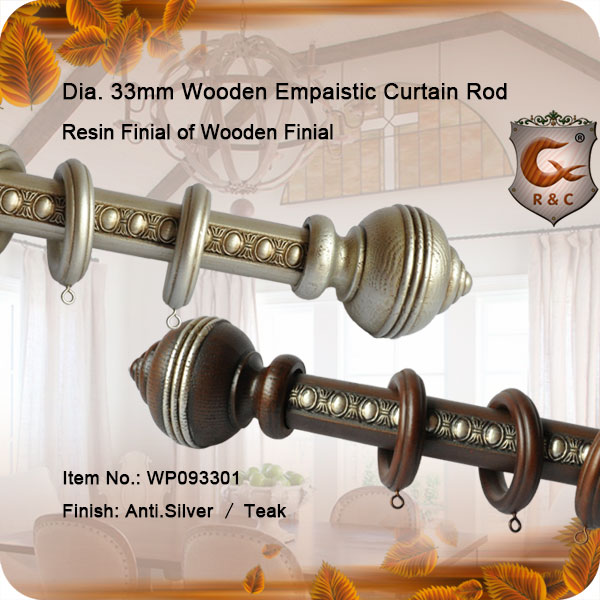 Dia.33mm wooden cameo curtain rods guangzhou