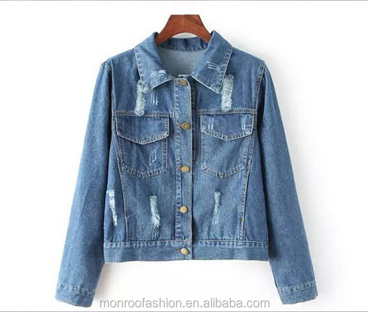 Monroo 2015 Autumn Vintage Women's Jeans Loose Denim Jacket Lady Short Jean Jacket For Women Outwear