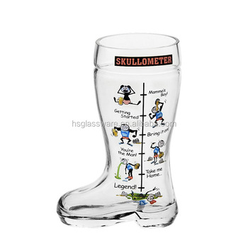 Hot Selling Hand Blown Funny Decal Pilsner Beer Glass Wholesale
