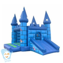 cheap 0.55mm pvc tarpaulin inflatable bouncy castle with water slide