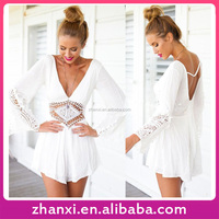 Spring Autumn Long Sleeve White Lace Bodysuit Women Rompers and Jumpsuits 2016
