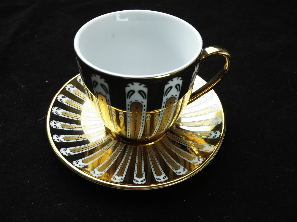 Ceramic Gold Plated Porcelain Tea Cup and Saucer Set From China