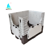 Factory export heavy duty Industry use Collapsible Plastic Pallet Box With side Doors / Lid material PP / HDPE