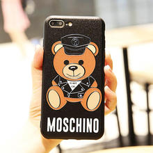 Fashion Cartoon Bear Pattern Printing 2 in 1 TPU PC Case For IPhone X 6 7 8 Plus