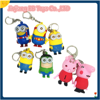 Minions or Pig Animal shaped Sound led key ring with lights