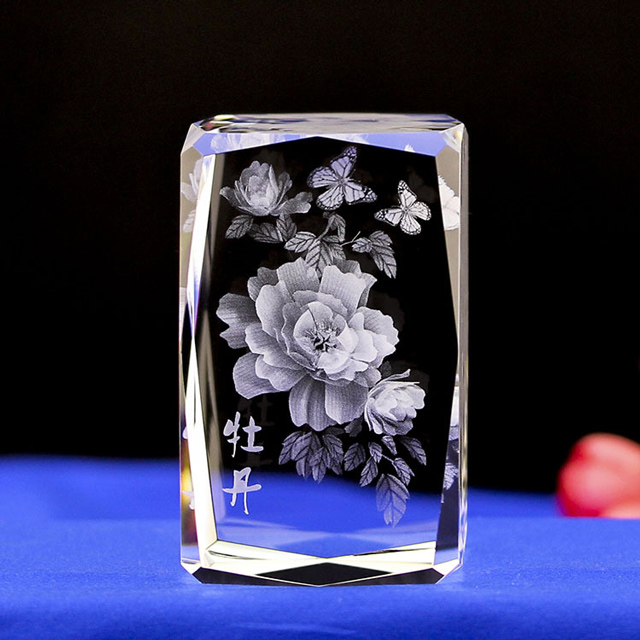 3D Laser Etched Crystal Cube Rose Flower for Wedding Gift
