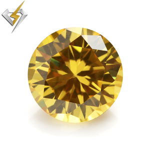Wholesale High Quality 1.0mm / 1.5mm / 3mm Machine Cut golden yellow Round Cubic Zirconia, Can make aaaaa Cubic Zirconia Rings