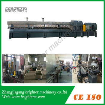 Parallel twin screw extruding pelletizer for plastic modification