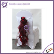 Hot sale organza/taffeta ruffle fancy chair sashes wholesale decor french style chairs wedding
