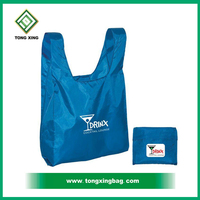 Blue color T-shirt foldable Nylon shopping bag with logo