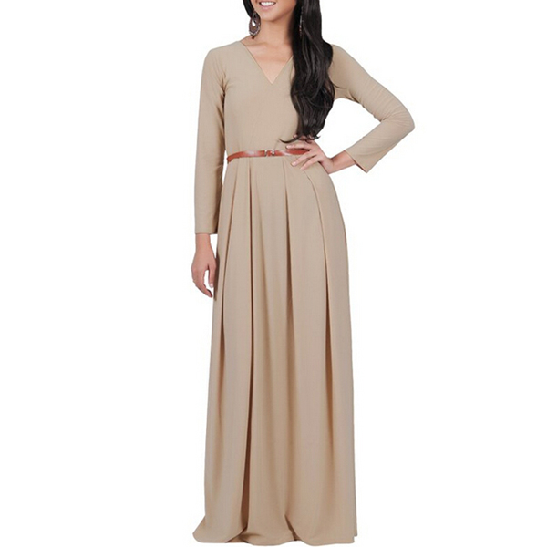 2016 Fashion Women's Cocktail Evening Formal Maxi Dress With Belt